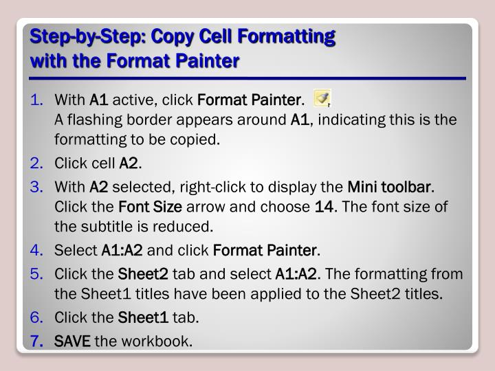 Step-by-Step: Copy Cell Formatting