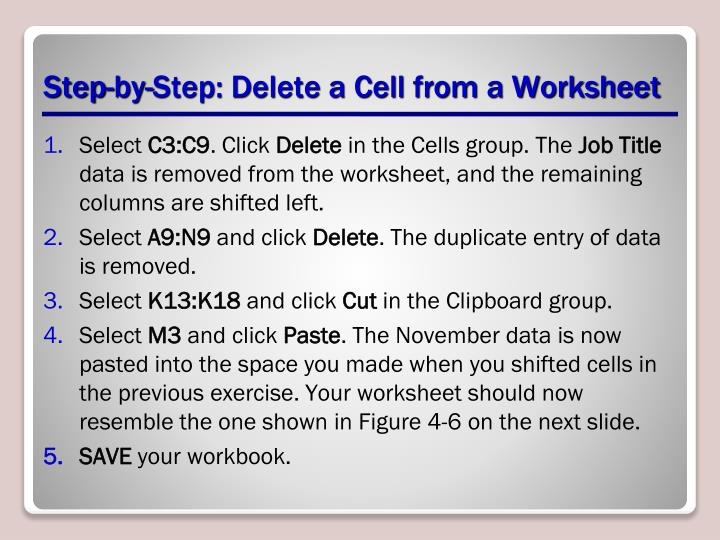 Step-by-Step: Delete a Cell from a Worksheet