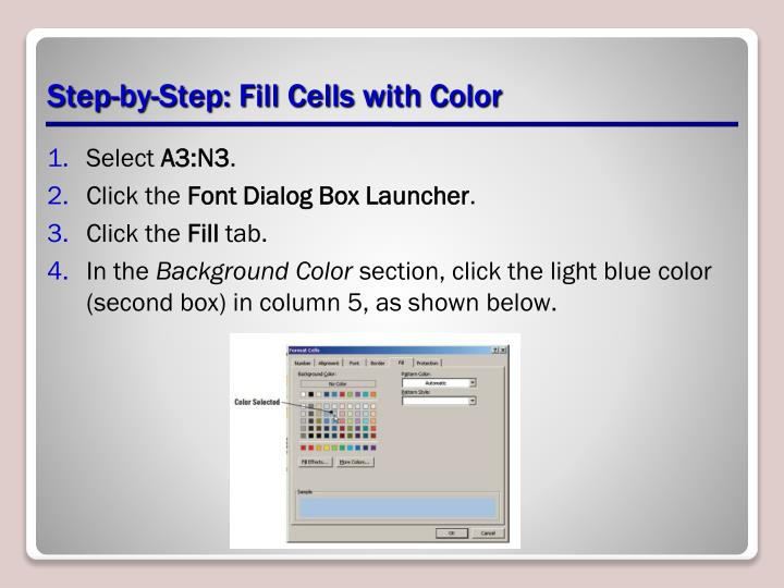 Step-by-Step: Fill Cells with Color