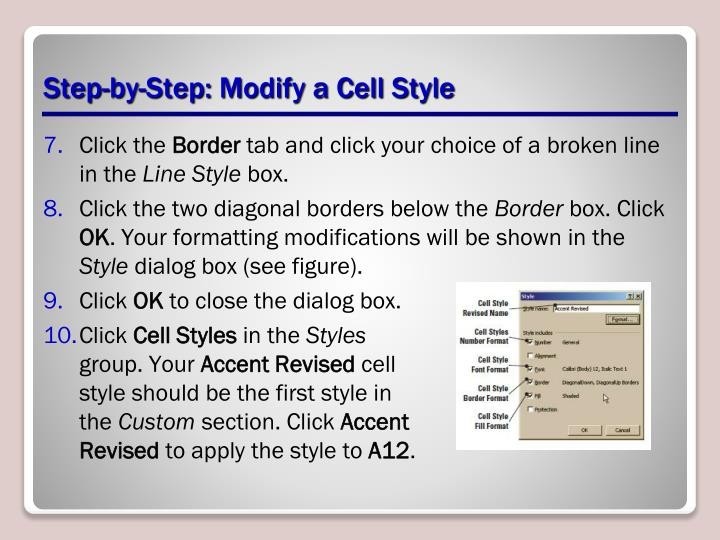 Step-by-Step: Modify a Cell Style