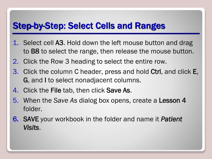 Step-by-Step: Select Cells and Ranges
