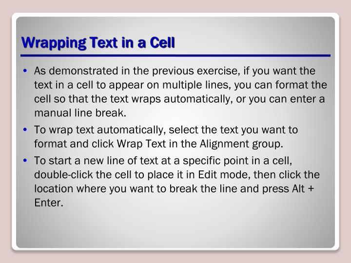 Wrapping Text in a Cell