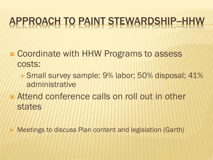 Coordinate with HHW Programs