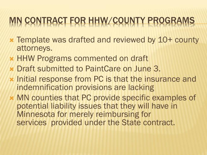 Template was drafted and reviewed by 10+ county attorneys.