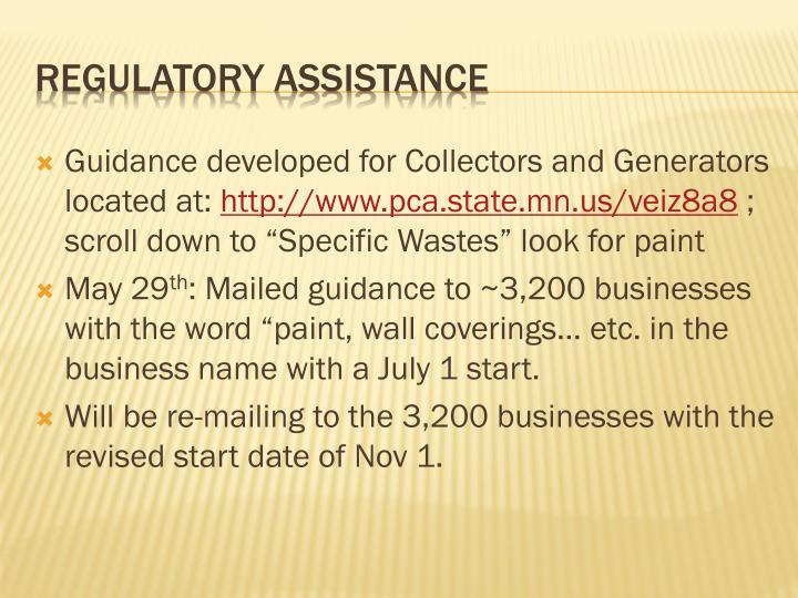 Guidance developed for Collectors and Generators located at: