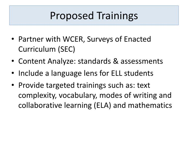 Proposed Trainings