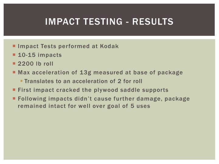 Impact Testing - results
