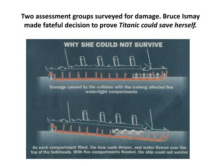 Two assessment groups surveyed for damage. Bruce