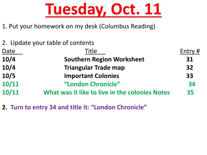 Tuesday oct 11