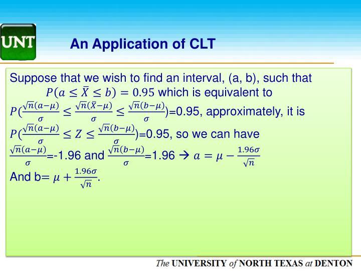 An Application of CLT