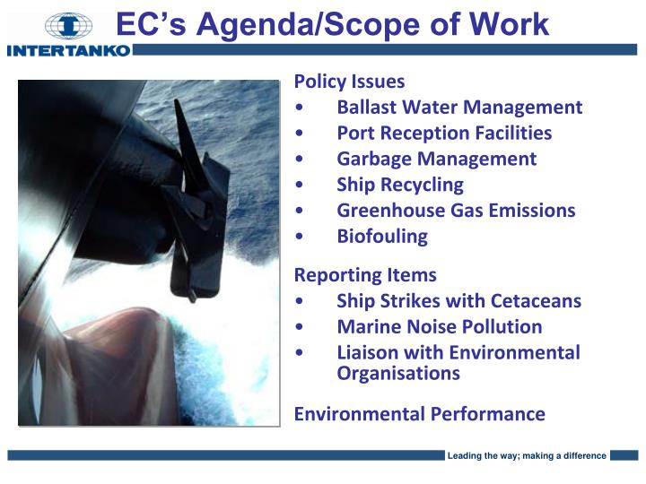 EC's Agenda/Scope of Work