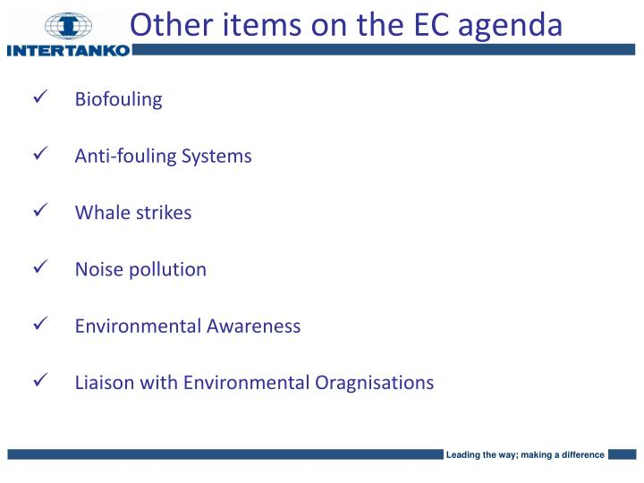 Other items on the EC agenda
