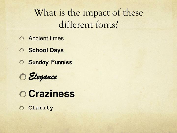 What is the impact of these different fonts?
