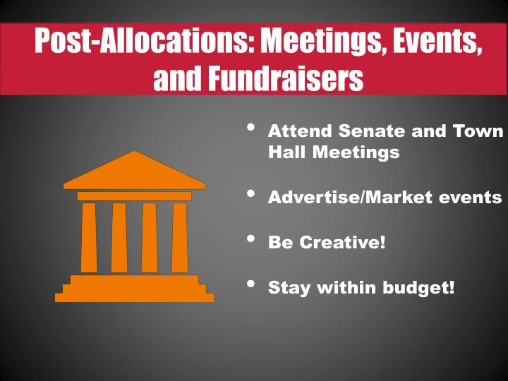 Post-Allocations: Meetings, Events, and Fundraisers