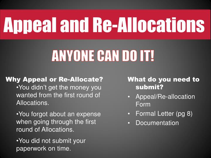 Appeal and Re-Allocations