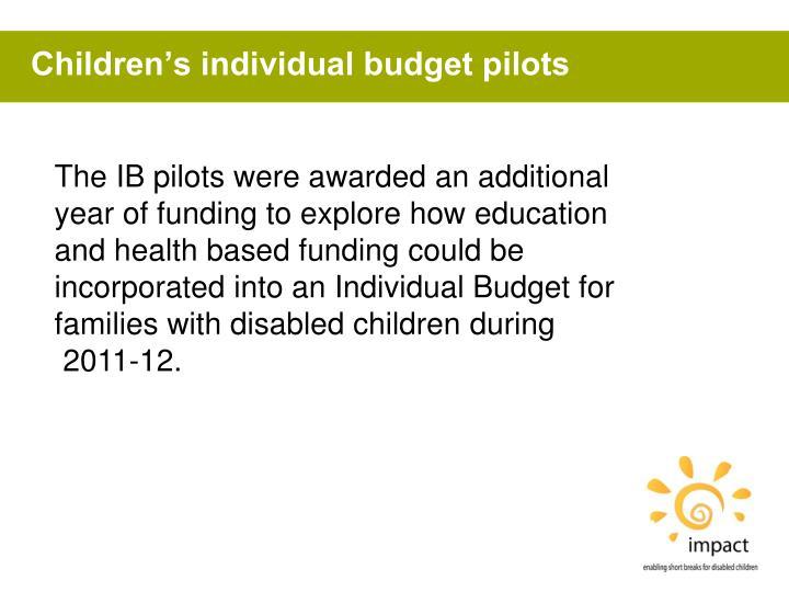 Children's individual budget pilots