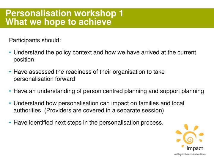 Personalisation workshop 1