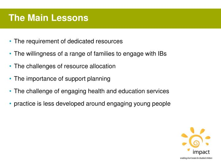 The Main Lessons