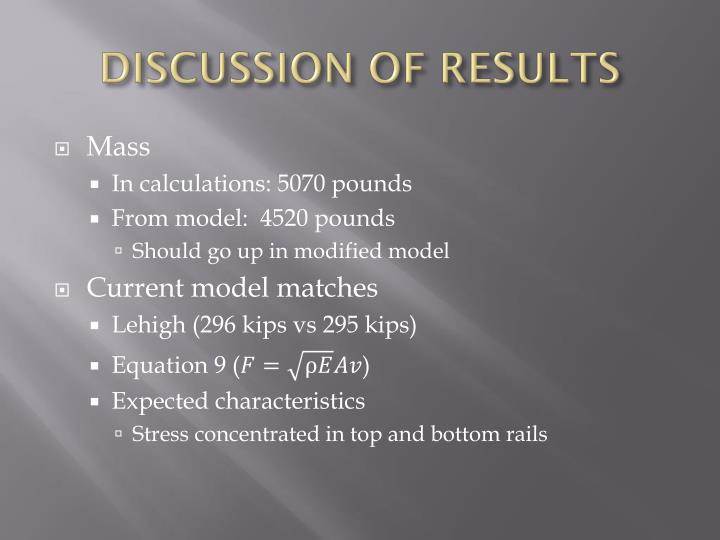 DISCUSSION OF RESULTS