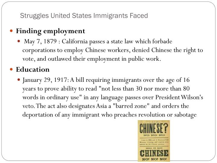 Struggles United States Immigrants Faced