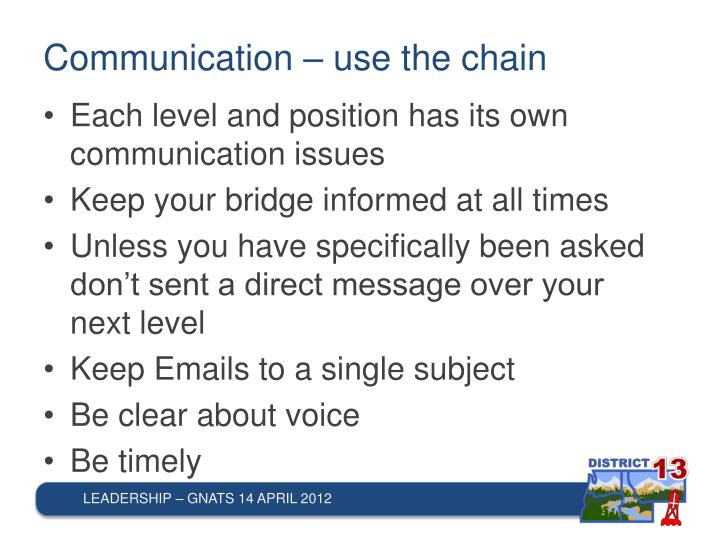 Communication – use the chain