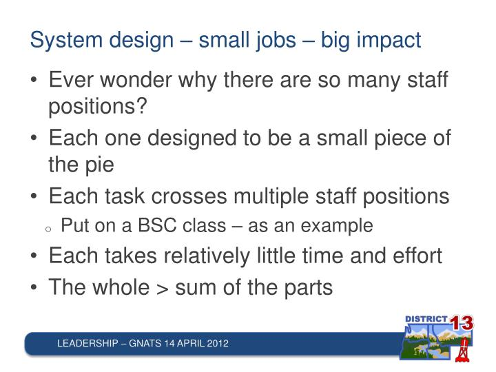 System design – small jobs – big impact