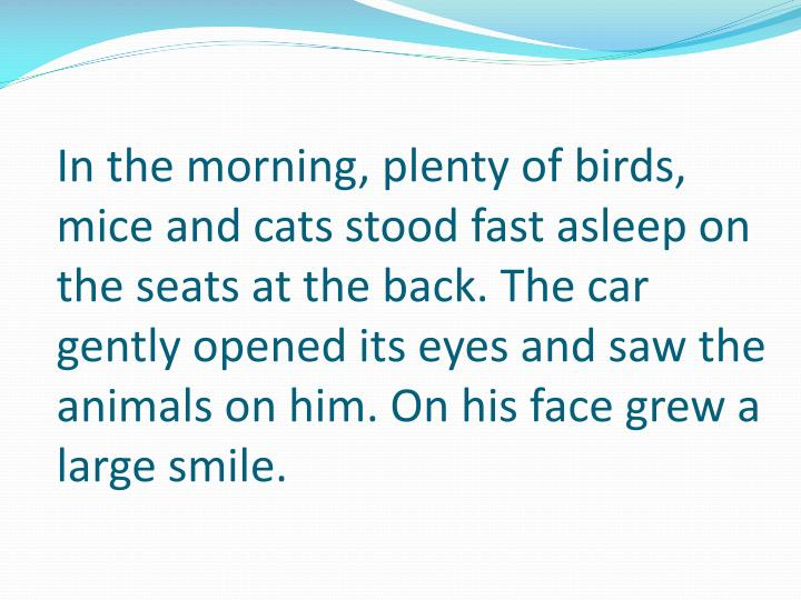 In the morning, plenty of birds, mice and cats stood fast asleep on the seats at the back. The car gently opened