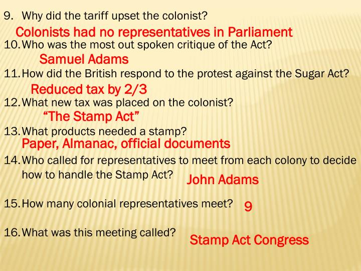 Why did the tariff upset the colonist?