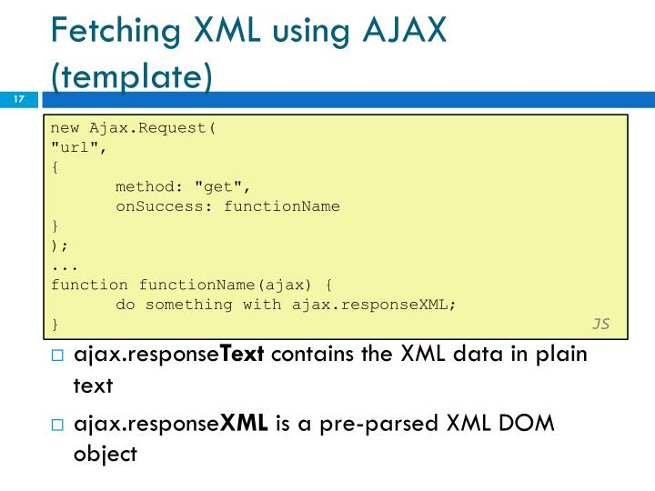 Fetching XML using AJAX (template)