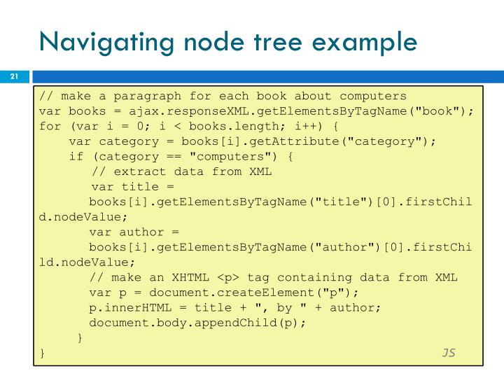 Navigating node tree example