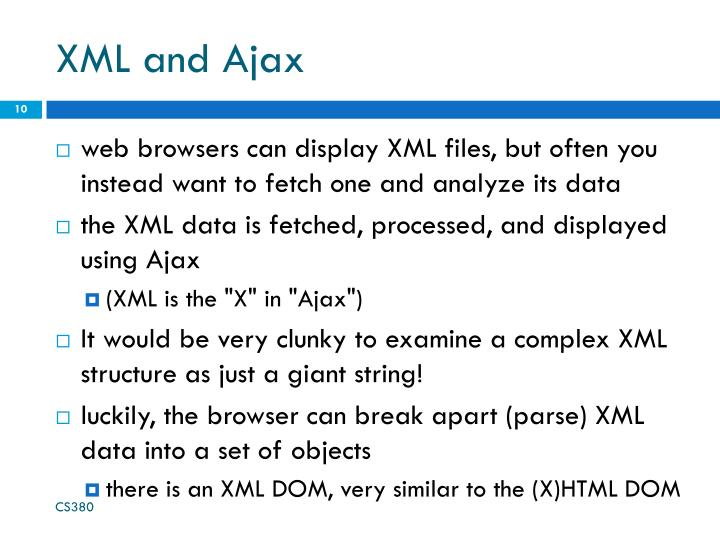 XML and Ajax