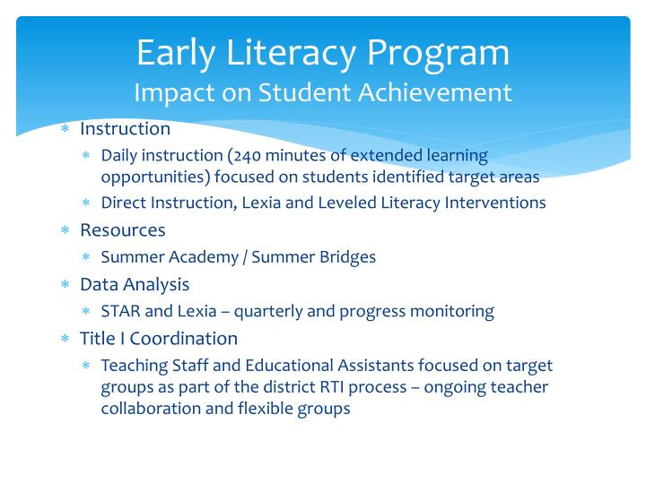 Early Literacy Program