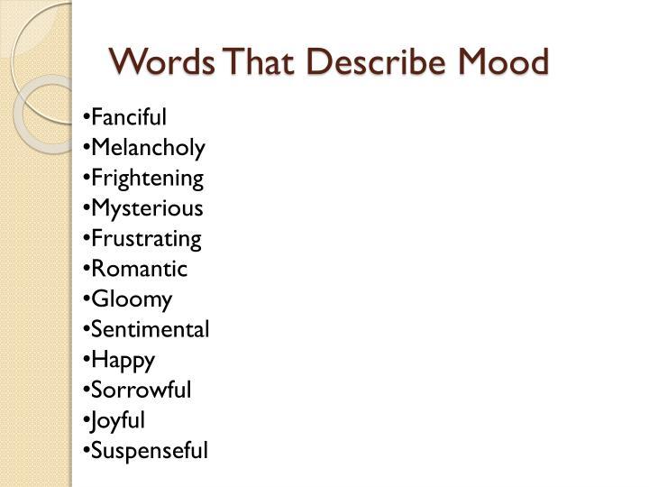Words That Describe Mood