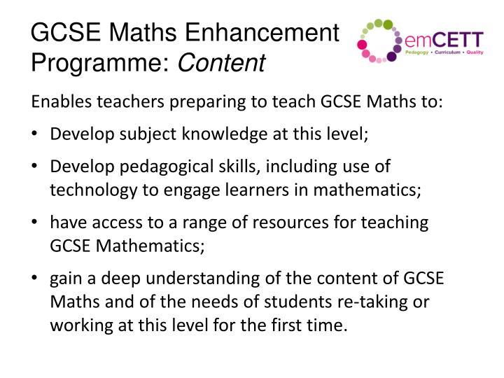 GCSE Maths Enhancement