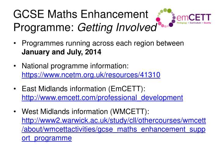 GCSE Maths Enhancement Programme: