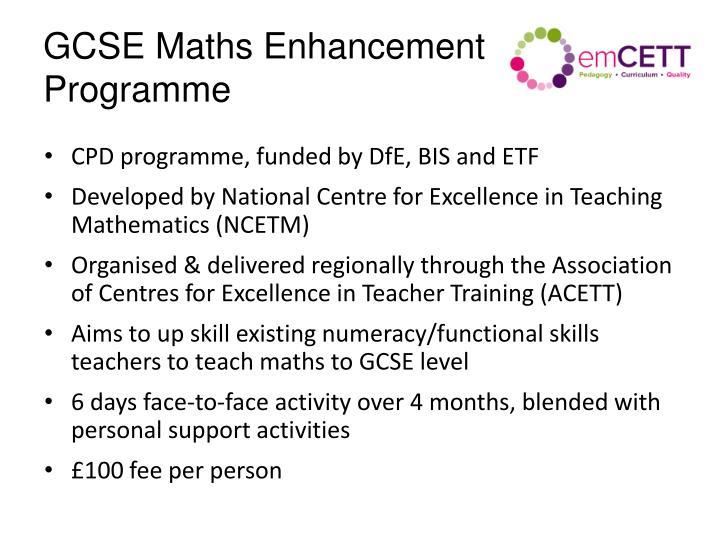 GCSE Maths Enhancement Programme