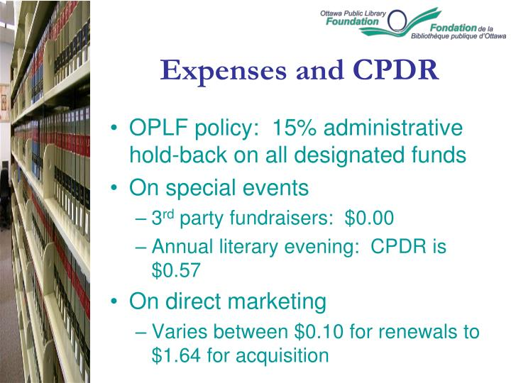 Expenses and CPDR