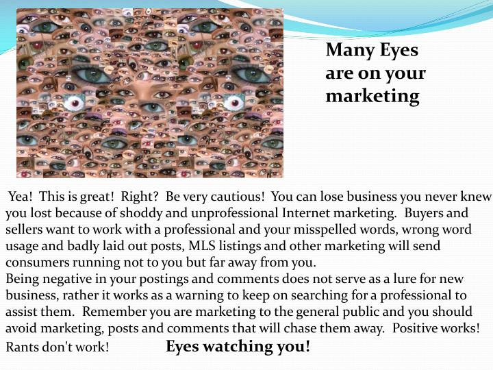 Many Eyes are on your marketing