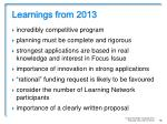 learnings from 20136