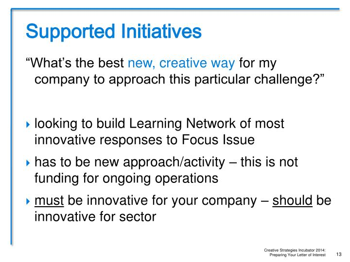 Supported Initiatives