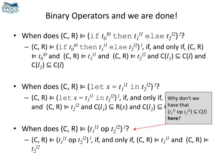 Binary Operators and we are done!