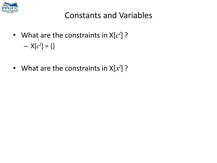 Constants and Variables