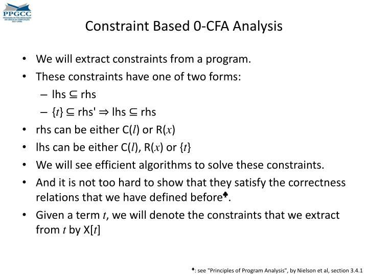 Constraint Based 0-CFA Analysis