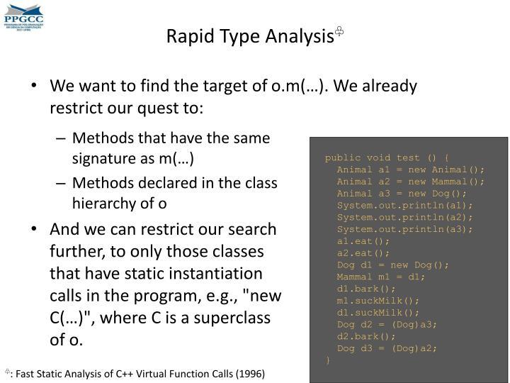 Rapid Type Analysis
