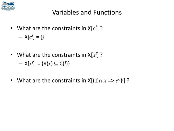 Variables and Functions