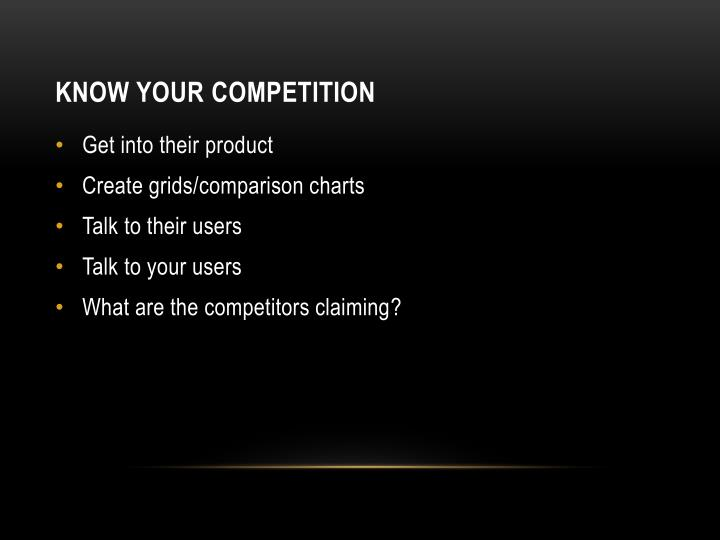 Know your competition