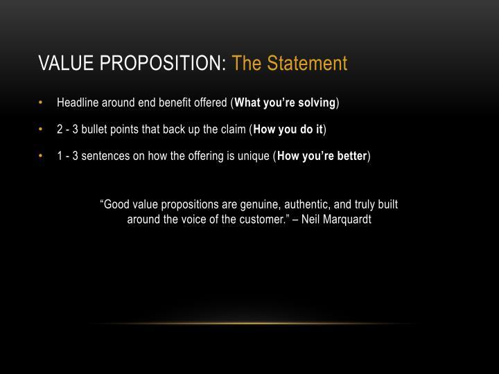 Value proposition: