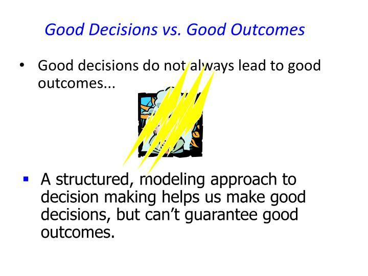 Good Decisions vs. Good Outcomes