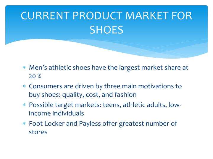 CURRENT PRODUCT MARKET FOR SHOES