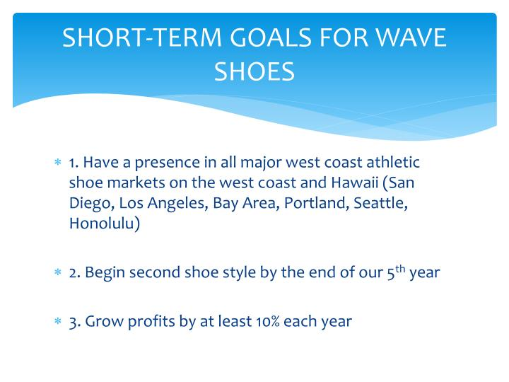 SHORT-TERM GOALS FOR WAVE SHOES